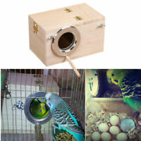 Safety Wood Bird House Cages Parrot Breeding Nesting Box View Window with Perch
