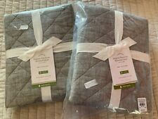 SET 2 NIP POTTERY BARN BELGIAN FLAX LINEN QUILTED SHAMS EURO FLAGSTONE GRAY