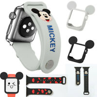 Set for Apple Watch 4 3 2 Cute Mickey Disney Soft Silicone Protective Case+ Band