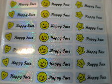 240 Happy Face Personalized Waterproof Name Stickers Labels 3 x 1 cm Customized