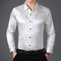 Men Faux Silk Satin Shirts Dragon Business Formal Long Sleeve Blouse Loose Tops
