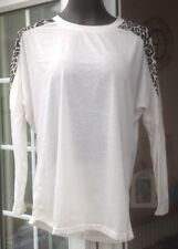 ZANZEA OFF WHITE & PATTERNED SHOULDER LONG SLEEVED TOP  SIZE L