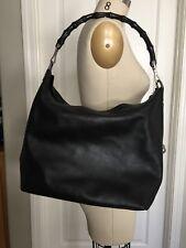 Gucci Bamboo Handle Tote Handbag Large Black Leather Hobo Bag