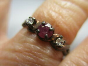 STERLING SILVER ESTATE VINTAGE GENUINE PINK RED PETITE RUBY BAND RING SIZE 7