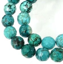 8mm Natural Turquoise Faceted Round Beads 15.5""