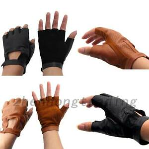 1 Pair Leather Sheepskin Fingerless Driving Gloves Motorcycle Bicycle Athletic