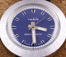Ruhla Round Brushed Satin Cased Mechanical Watch 41mm New Old Stock