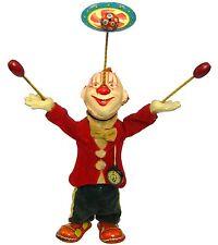 Vintage Alps Japan Tin Litho Windup Juggling Circus Clown w/Pocket Watch Works