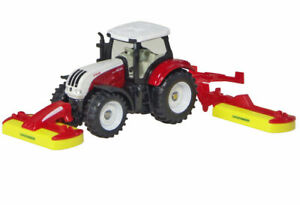 Steyr 6230CVT Tractor with Pottinger Front & Rear Mowers - 1/64