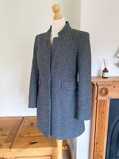 Zara Grey Herringbone Inverted Lapel Frock Coat Long Blazer Jacket M UK12