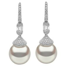 Beautiful White Round Pearl Women Earrings 925 Sterling Silver Anniversary Gift