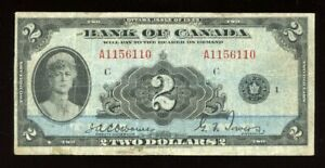 1935 Bank of Canada $2 - Cat# BC-3 - Canada's First Banknote Series