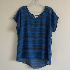 Pleione Womens L Sheer Top Blue Black Print Scoop Neck Short Sleeve