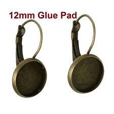10 pcs. Antique Bronze Earring Clips Settings Lever Back Bezels - 12mm Glue Pad
