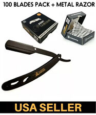 Straight Razor Folding -Black color /w100 pcs  derby half blade premium barber