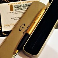 24ct Gold Plated Metal Parker Frontier Ball Point Writing Pen Gift Tin Ink 24k