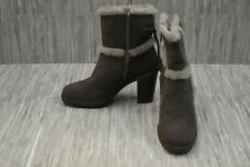 Frye Jen Shearling Short Water-Resistant Suede Booties, Women's Size 7M Charcoal