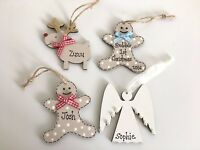 Personalised Baby's 1st First Christmas Tree Hanging Decoration Wooden Reindeer
