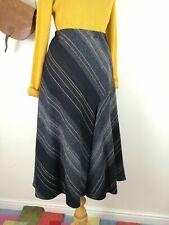 Alex & Co Wool Skirt. UK 14. A-Line. Midi. Black. Elastic Waist. Career. Mature