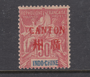 France, China, Canton, Sc 11 MNH. 1901 50c red ovpt on 50c carmine on rose