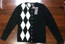 Cashmere Cardigan Sweater-Top-Victor Alfaro Designer-Small--Black/Ivory-New-$172