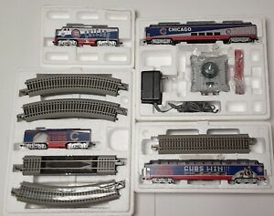 HAWTHORNE VILLAGE CHICAGO CUBS EXPRESS HO SCALE ELECTRIC TRAIN SET NICE 4 CARS