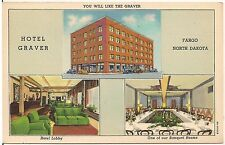 Hotel Graver in Fargo ND Multiview Postcard 1946