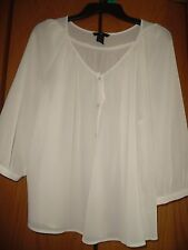 H&M  Ivory Semi-Sheer Boho Top Tunic Shirt Women Sz 6