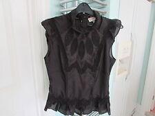 Beautiful KAREN MILLEN 100% silk lace detailed blouse UK 10