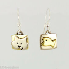 Far Fetched CAT AND FISH Earrings Alpaca Silver Brass Dangle Mima Oly - Gift Box