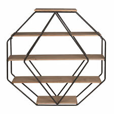 Lintz Wood Octagon Floating Wall Shelves by Kate and Laurel