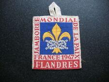 insigne en tissu scout Jamboree Mondial de la Paix France 1947 FLANDRES