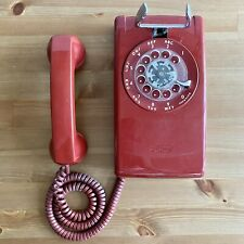 Vintage RARE Red Rotary Wall Phone by Western Electric for Bell Systems