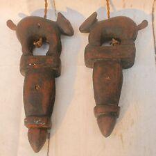 Antico Vintage asiatico BIRMANO in legno a mano con telaio pulegge Handcarved Animale Ornamenti