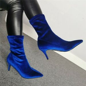 Womens Velvet Pointed Toe Pull On Low Heels Ankle Riding Boots Clubwear Shoes