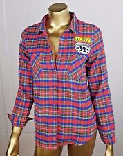 Love Tree Happens Red Flannel Button Down Cali Shirt w Patches Women S MSRP $36