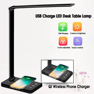 Dimmable USB LED Desk Table Lamp Wireless Phone Charger Reading Night Light UK