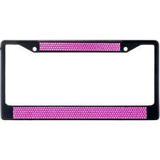 Premium Black Hot Pink Bling Crystal Diamond License Plate Frame for Car-Truck