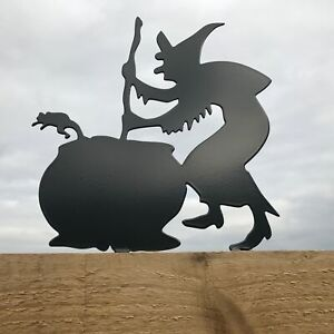 Witch & Cauldron Metal Fence Topper
