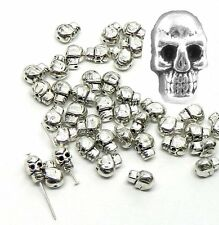 40 Antiqued Silver Plated Casted Skull Beads 5x9mm with 1mm Hole Metal Spacer