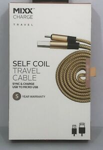 MIXX CHARGE | Self-Coil Travel Cable - USB To Micro USB - Rose Gold - 1 Metre