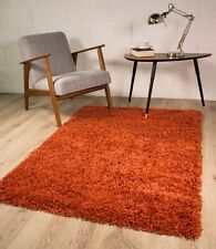 Luxurious Easy Clean Soft Cheap Terracotta Orange Shaggy Rugs in 6 Sizes