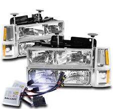 94-98 GMC C/K 1500 2500 SUBURBAN SIERRA HEADLIGHTS LAMPS W/BUMPER+10K HID CHROME