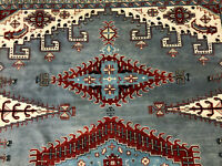 10x14 BLUE HANDMADE WOOL RUG HAND-KNOTTED ORIENTAL geometric big light carpet