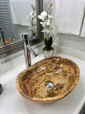 New listing Modern Natural Stone Bathroom vessel canoe sink red travertine marble