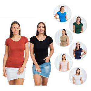 Caroline Morgan Short Sleeve Top Scoop Neck T-Shirts Basic Tee Tops Plain Colour