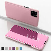 For iPhone 11 Pro Max Luxury Leather Electroplating Mirror View Stand Case Cover