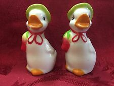 Salt  & Pepper Shaker  Duck In Green Hat Red Bow 3 1/4  in high Vintage
