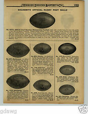 1929 PAPER AD Goldsmith Official Rugby Football Conference Leather Helmet Harnes