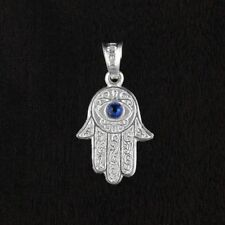 Unisex Solid 925 Sterling Silver CZ Blue Hamsa Hand Of God Pendant 20mm